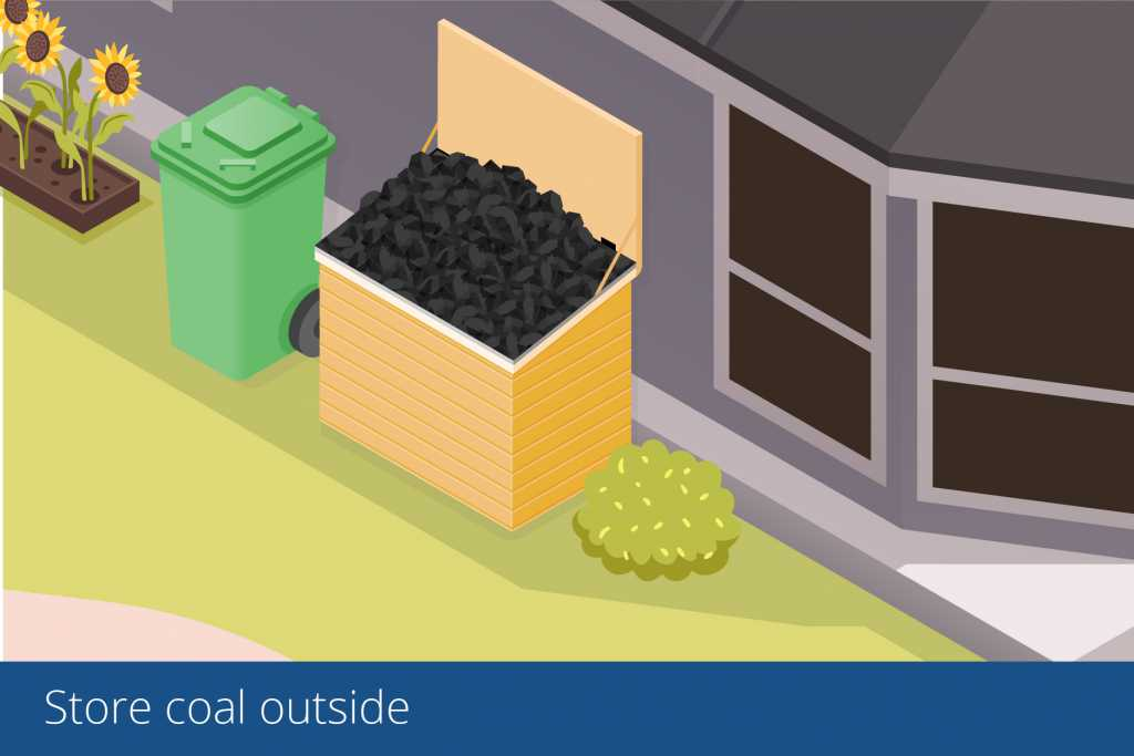 illustration of coal being stored outside