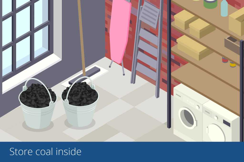 illustration of coal being stored inside