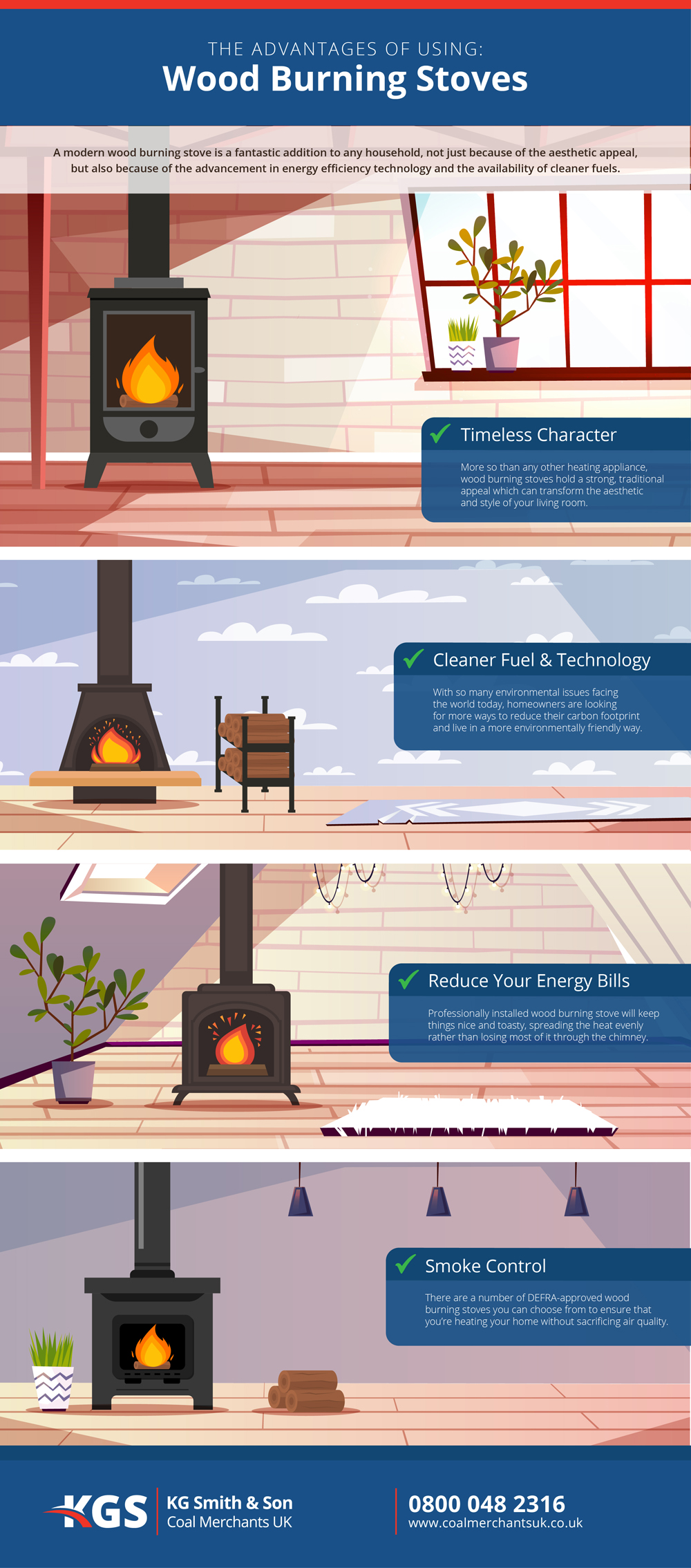 KG Smith & Son - Wood Burning Stove Infographic